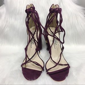 So Me Wine Lace Up Heels